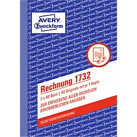 AVERY® Zweckform Rechnung, 1. und 2. Blatt bedruckt Nr. 1732