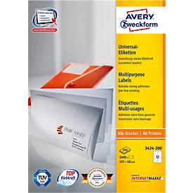 AVERY® Zweckform Universal-Etiketten 3424-200, 105 x 48 mm, 2400 Stück