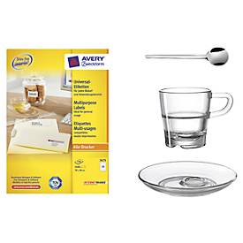 AVERY® Zweckform Universal-Etiketten 3475 + Espressotassen-Set Senso, 3tlg., GRATIS