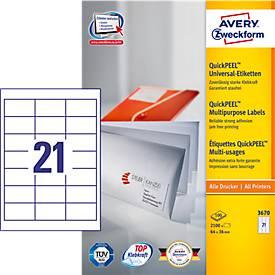 AVERY® Zweckform Universal-Etiketten 3670, 64 x 36 mm, 2100 Stück