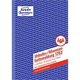 AVERY® Zweckform Urlaubs-/Abwesenheitsmeldung, Nr. 1753