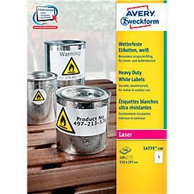 AVERY® Zweckform Wetterfeste Folien-Etiketten L4775-100, 210 x 297 mm, permanent, weiß