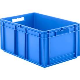 Bac gerbable aux dim. Euro EF 6280, en PP, cloisons pleines, 56,6 litres
