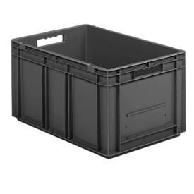 Bac gerbable aux dim. Euro EF 6320, en plastique recyclé, cloisons pleines, 63,7 litres