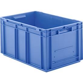 Bac gerbable aux dim. Euro EF 6320, en PP, cloisons pleines, 63,7 litres
