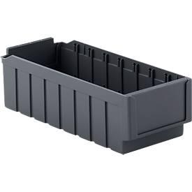 Bacs de rayonnage RK 421, 8 cases, en plastique recyclé, gris acier, 16 pièces