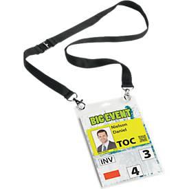 Badge A6 avec ruban textile duo