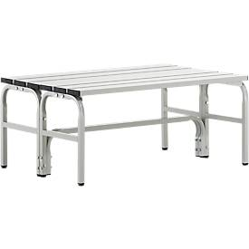 Banc de vestiaire, tube inox/alu, double, L 1015/1500/2000 mm