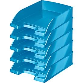Bandeja para documentos LEITZ® Wow 5226, DIN A4, 5 unidades, azul metalizado