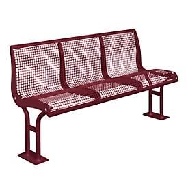bank Essen, met rugleuning, 3 zitplaatsen, met flens, in RAL-kleuren, wijnrood, 3 zitplaatsen, met flens