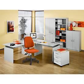 Baralonis Komplett-Büro II, 2 x Wangenschreibtisch, Container, Aktenschrank (3/5 OH), Regal (5 OH)