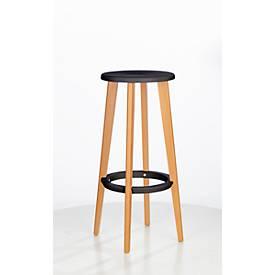 Barhocker WOODY, ABS-Kunststoff, mit Fußring, Massivholzbeine, Sitzhöhe 760 mm, 2 Stk, schwarz