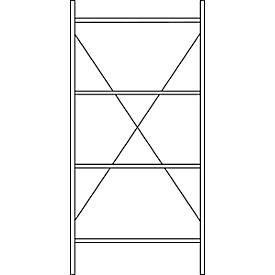 Basisstelling, 4 legborden, h2278 x b1055 x d300 mm, verzinkt