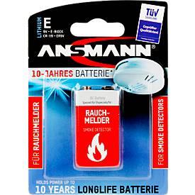 Batterien, für Rauchmelder, 9V E-Block, 10 Jahre lagerfähig