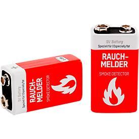 Batterien, für Rauchmelder, 9V E-Block, 2 Stück