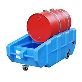 BAUER PE Lekbak WPT 230, verrijdbaar en met riem, voor 200 liter vaten