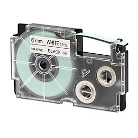 Beletteringstape XR-6WE1, 6 mm x 8 m, zwart/wit