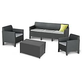 BEST Lounge-Gruppe Amalfi groß, 4-teilig, 3-Sitzer, 2 Sessel, Tischtruhe