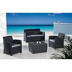 BEST Lounge-Gruppe Bali, 4-teilig, mit 2-Sitzer, Tisch mit Stauraum
