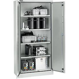 Beveiligde kast conform IP54 met 4 legborden, b 950 x d 525 x h 1935 mm, aluzilver