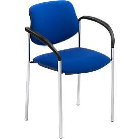 Bezoekersstoel Styl, blauw, verchroomd, tot 6 stuks stapelbaar