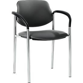 Bezoekersstoel STYL, lederoptik, met armleuningen, onderstel verchroomd, fango grey