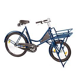 Bicyclette de transport, cadre en acier, avec porte-charge sur la roue avant, et éclairage inclus