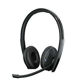 Bluetooth Headset EPOS | Sennheiser ADAPT 260, binaural, UC-optimiert, zertifiziert für Microsoft Teams®, bis 25 m, bis 27 h, mit USB-Dongle, schwarz
