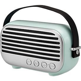 Bluetooth Lautsprecher Retro, 2 x 5 W, bis 10 m, UKW-Radio, Freisprechen, Werbedruck 55 x 15 mm, mintgrün/silber