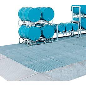 Image of Bodenauffangwanne ASECOS, Stahl verzinkt, 20 l Auffangvolumen, B 500 x T 500 x H 123 mm, 450 kg Radlast