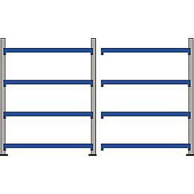 Breedkapse rekken WR 600, complete rekken van 3,6 m, 4 niveaus, 1 basis- en 1 aanbouwvak incl. 8 spaanplaten.