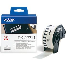 BROTHER Endlos-Etikett DK-22211, 29mm x 15,24m, Film weiß