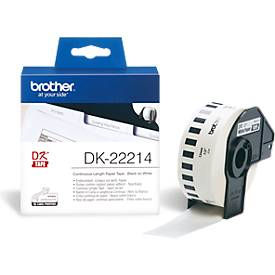 brother etiket op rol, DK-22214, 12 mm x 30,48 m, papier, wit