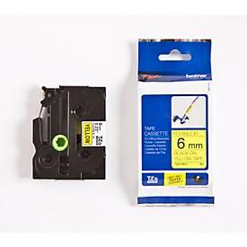 brother Schriftbandkassette TZe-FX611, 6 mm breit, gelb/schwarz