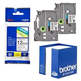 brother Schriftbandkassetten TZe-231, 2 Stück, 12 mm breit, weiß/schwarz + Zettelbox GRATIS
