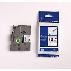 brother tapecassette TZ HSE-221, 8,8 mm, zwart/wit