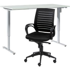 Büromöbel Set 2-tlg. Schreibtisch Start Up, elektrisch höhenverstellbar, B 1600 x T 800, lichtgrau + Bürostuhl Basic, mit Armlehnen