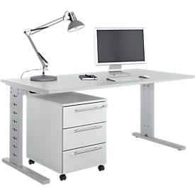 Büromöbelset 2-tlg. Moxxo IQ Schreibtisch B 1600 x T 800 mm, C-Fuß + Rollcontainer 333, lichtgrau