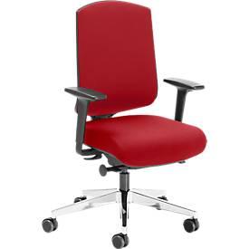 Bürostuhl AIR-SEAT, Synchronmechanik, mit Armlehnen, Lordosenstütze, Schiebesitz, rot