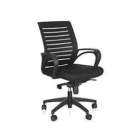 Bürostuhl Basic, mit festen Armlehnen, Wippmechanik, ergonomische Lehne m. Netz