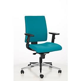 Image of Bürostuhl INTRATA, Synchronmechanik, ohne Armlehnen, Muldensitz mit Knierolle, bis 110 kg, Aluminium, türkis