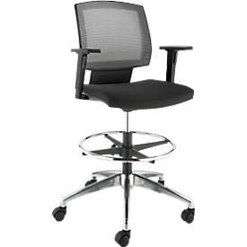 Image of Bürostuhl MESH, mit Armlehnen, atmungsaktive Netz-Rückenlehne, Muldensitz, mit Fußring