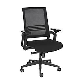 Bürostuhl, mit Armlehnen, Kippmechanismus, Muldensitz, Netzrückenlehne, schwarz