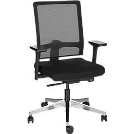 Bürostuhl NET MATIC, mit Armlehnen, Auto-Synchronmechanik, Muldensitz, Netzrücken, schwarz/alusilber
