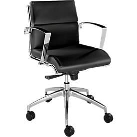Bürostuhl ORIGAMI, Lederbezug, Wippmechanik, mit Armlehnen, halbhohe Rückenlehne, schwarz