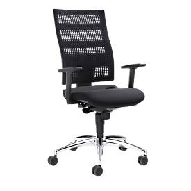 Bürostuhl SSI Proline Edition, mit Armlehnen, Synchronmechanik, Bandscheibensitz, 3D-Netzrücken, schwarz/alusilber