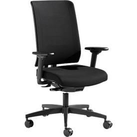 Bürostuhl SSI PROLINE PREMIUM P1, Synchronmechanik, mit Armlehnen, ergonomisch, schwarz