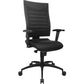 Bürostuhl SSI PROLINE S1, Synchronmechanik, ohne Armlehnen, 3D-Netz-Rückenlehne, Bandscheibensitz, schwarz/schwarz