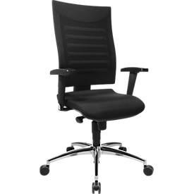 Bürostuhl SSI Proline S2, Synchronmechanik, mit Armlehnen & Lendenwirbelstütze, Bandscheibensitz, schwarz/schwarz
