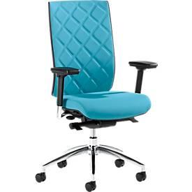 Bürostuhl WIKI, mit Armlehnen, Stoff-Rücken, Gestell Aluminium poliert, türkis
